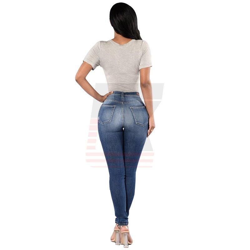 Stylish Blue Medium Waist Ladies Stretch Ripped Stock Skinny Jeans