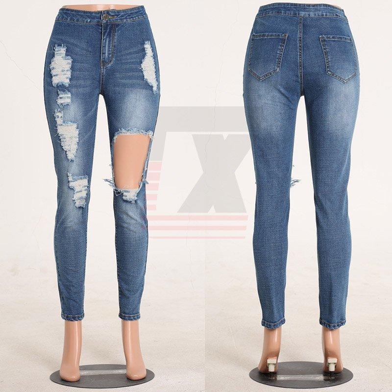 Middle Waist Blue Fashion Model Denim Women Ripped Holes Jeans Paint