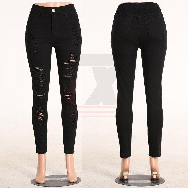 Mid Rise Women Latest Fashion Pure Color Ripped Stretch Skinny Jeans