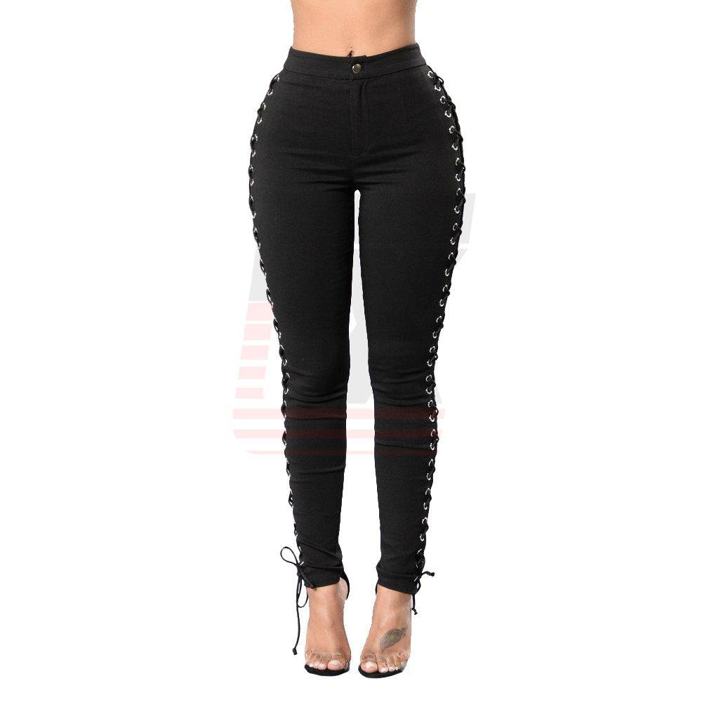 Coloured Summer Bind Rope Skinny Ladies Slim Jeans with Metal Holes