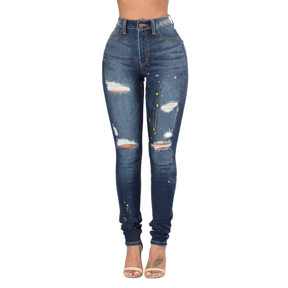 Blue High Rise Ripped Woman Stretch Skinny Jeans with Holes