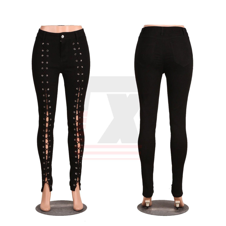 Latest Design Denim Bandage Women Skinny Slim Jeans Leggins with Metal Holes