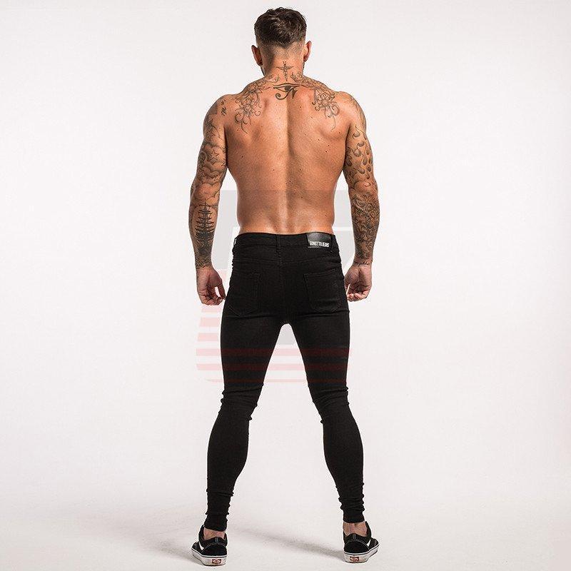 Black Elastic Medium Rise Stretch Ripped Skinny Slim Bottom Jeans for Men