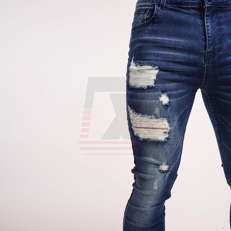 Denim Ripped Stretch Street Destroyed Styles Blue Men Distressed Skinny Jeans