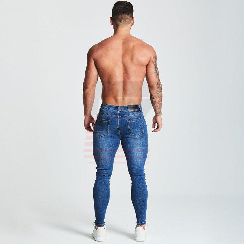 Black Denim Supper Skinny Slim Fit Jeans for Men with Chain Elastic Waist