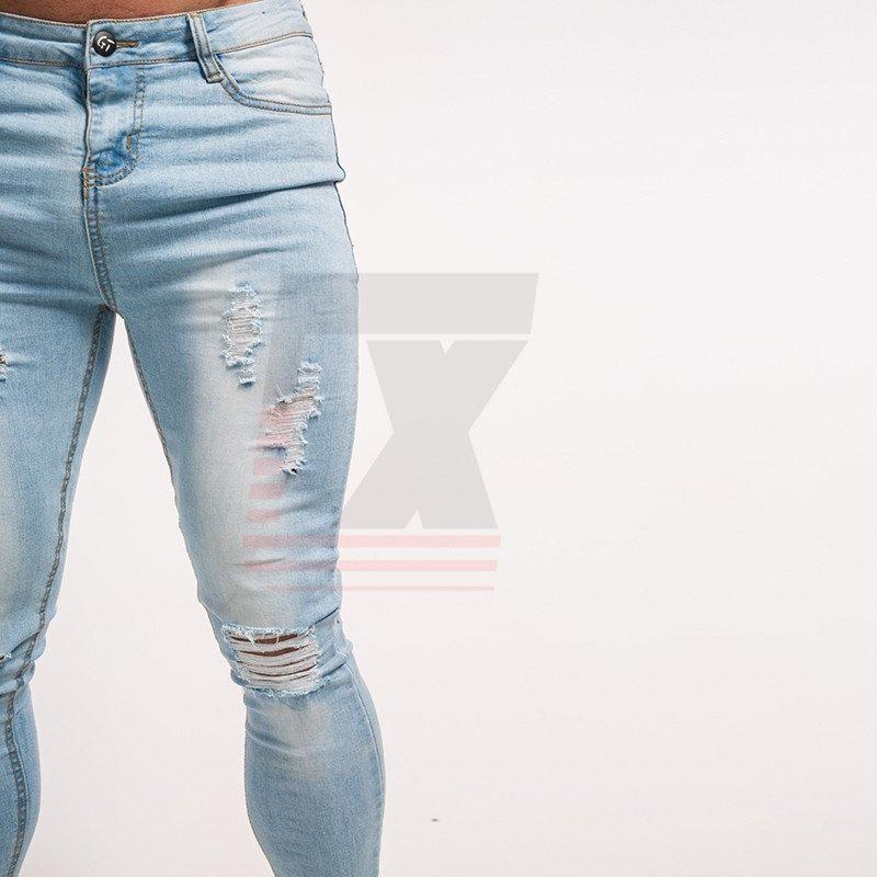 Low Rise Light Blue Knee Ripped Super Skinny Men Slim Fit Dropshipping Jeans