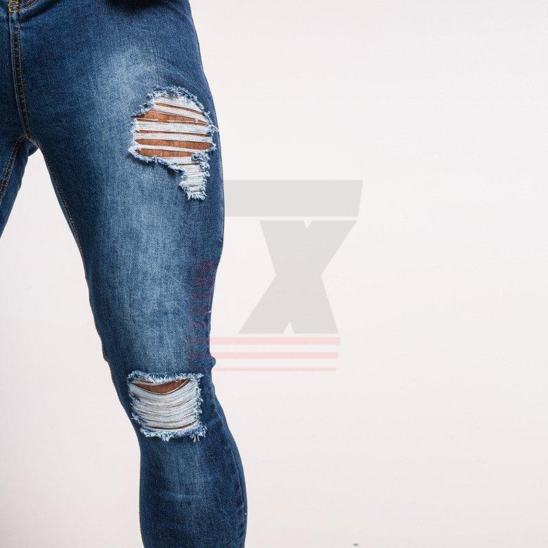 Men Black Skinny Faded Slim Stretch Distressed Biker Streetwear Hip Hop Jeans
