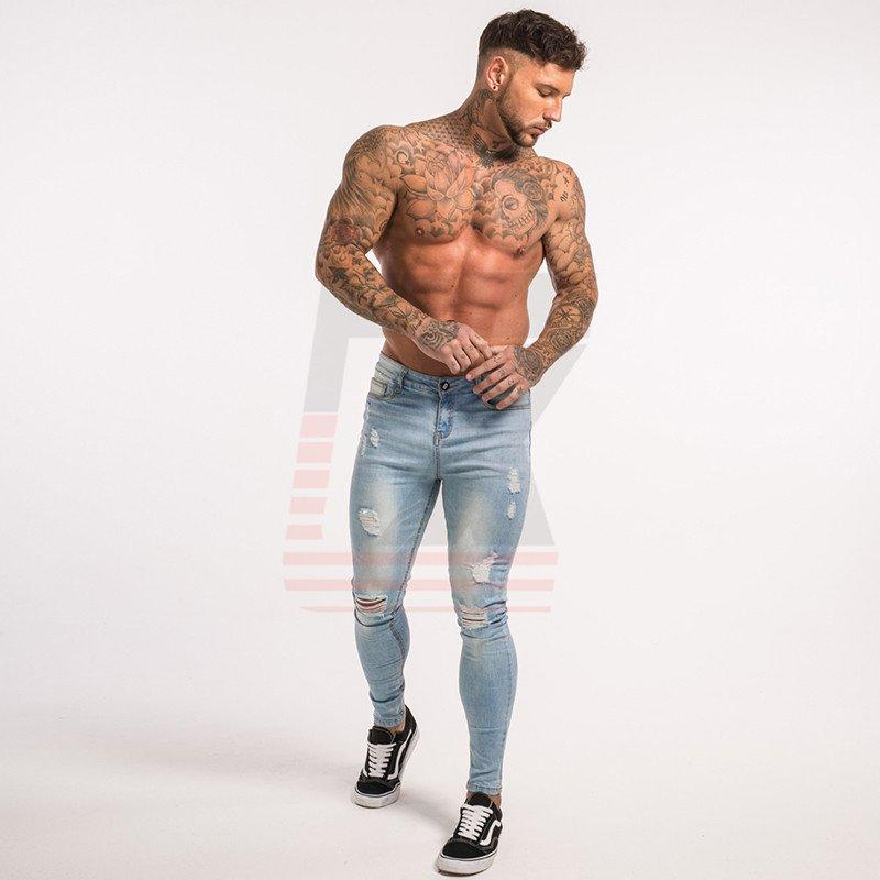 Biker Style MeMalen Blue Tape Classic Hip Hop Stretch Slim Fit Skinny Tight Jeans