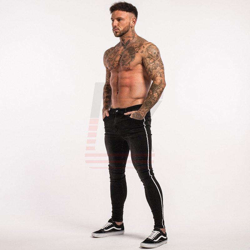 Men Black Warm Fleece Denim Stretch Ship Slim Fit Super Skinny Elastic Waist Jeans