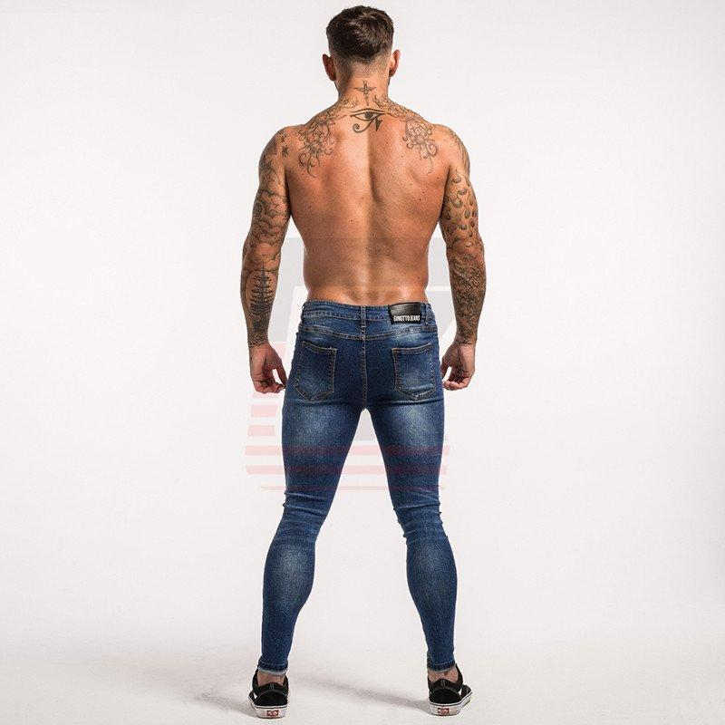 Mens Blue Distressed Skinny Fit Super Spray-on Stretchy Jeans for Streetwear