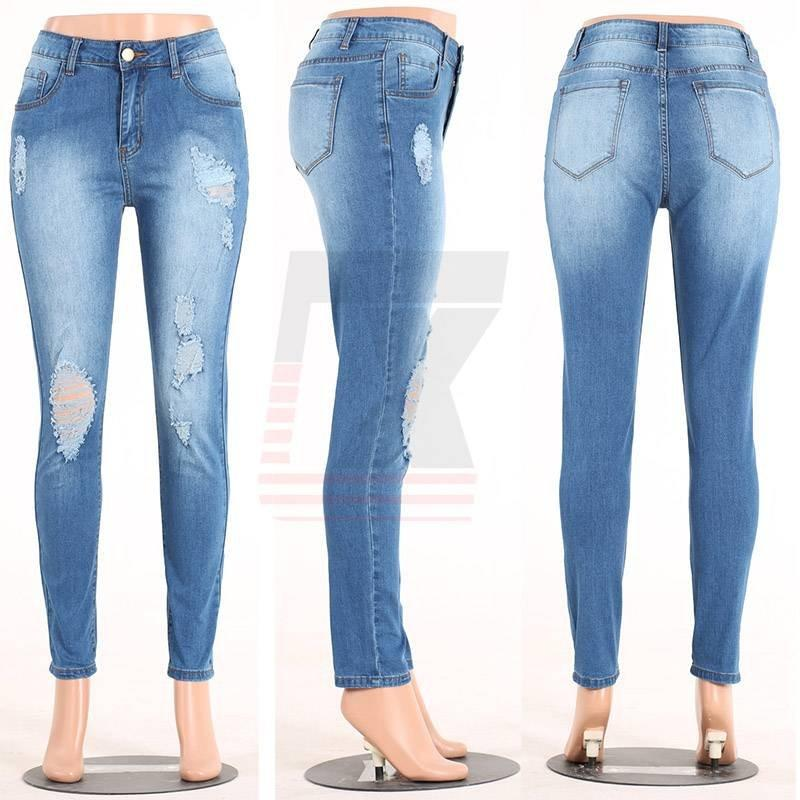 Blue Middle Waisted Slim Bottom Ankle Ripped Girls Tight Skinny Jeans