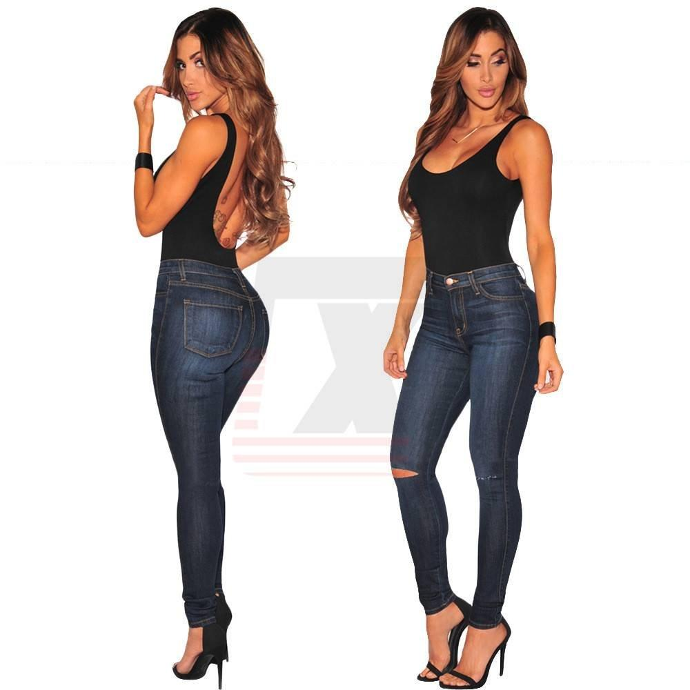 High Waist Lady Ripped Knee Blue Stretch Skinny Jeans with Holes