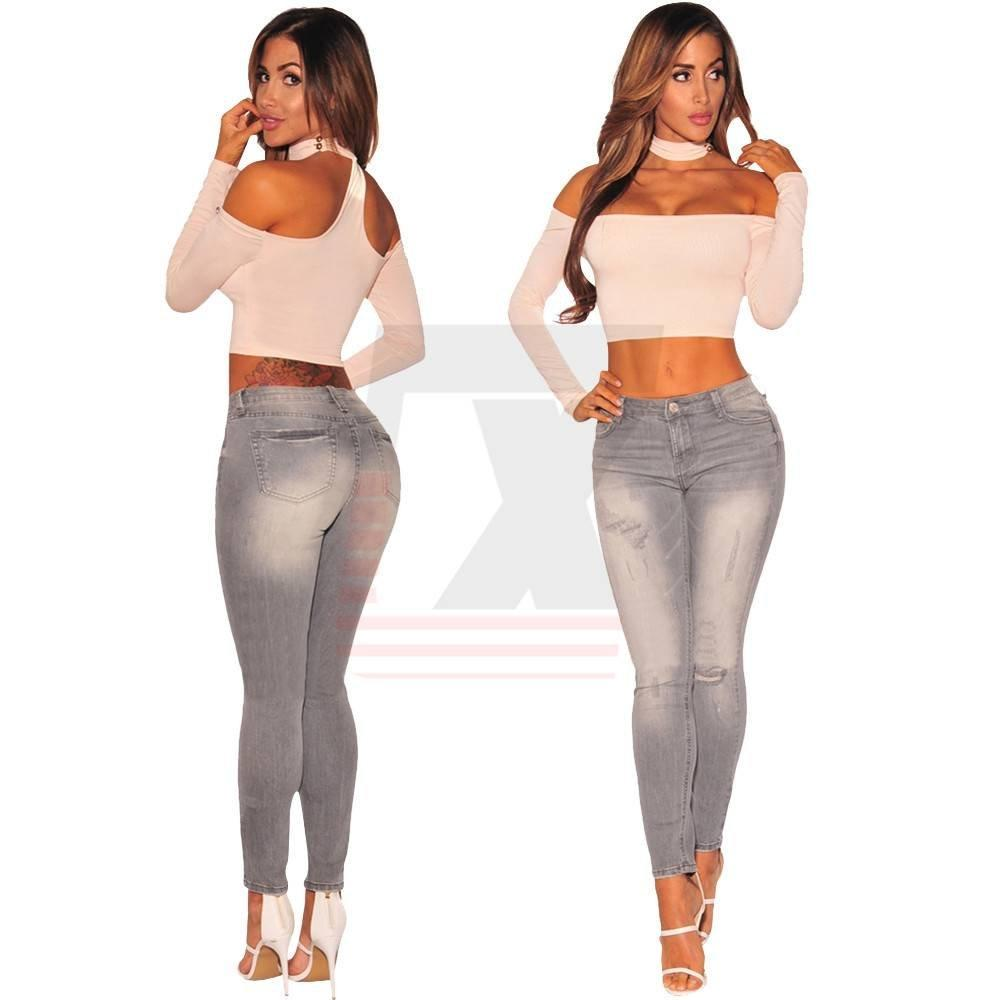 Gray High Waist Ladies Super Tight Skinny Slim Long Jeans