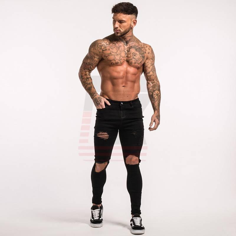 Stripe Ripped Super Black Designer Men Mid Rise Skinny Jeans with Holes