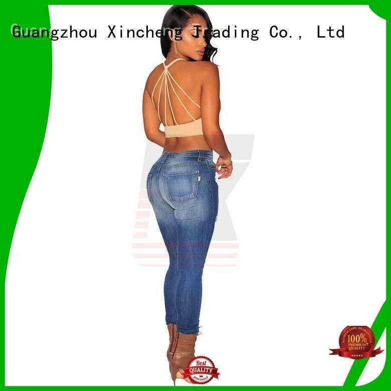 bind rope destroyed skinny jeans Xincheng Jeans