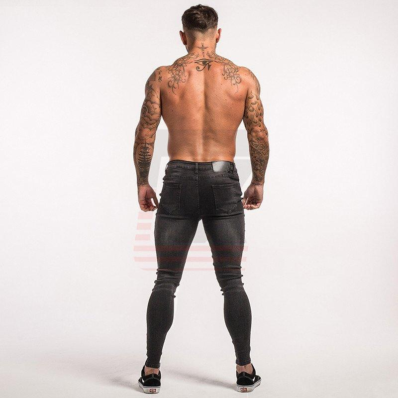 Male Black Classic Hombre Slim Fit Biker Style Tight Hip Hop Stretch Skinny Jeans