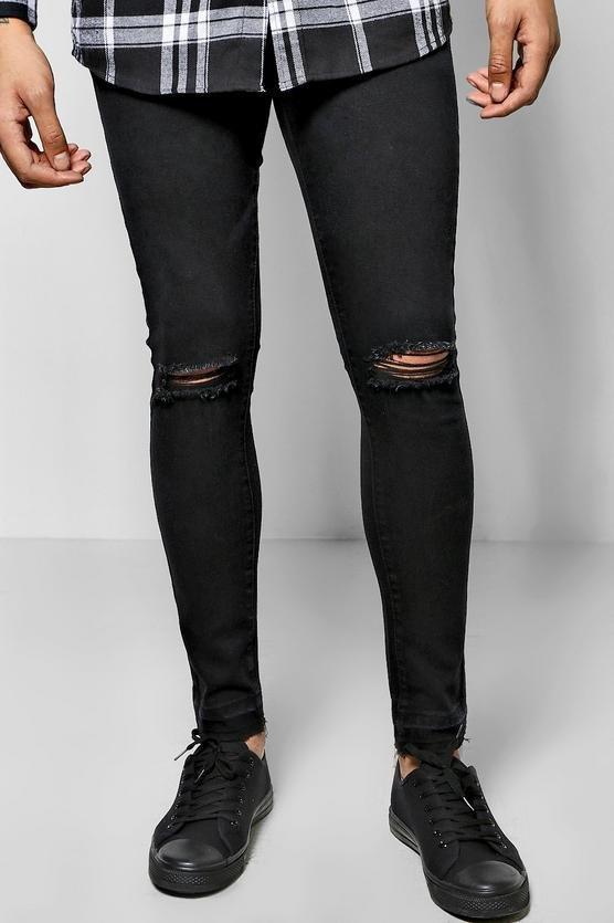 Men Skinny Fit Jeans Super Stretchy Jeans Black Knee Ripped Men Jeans