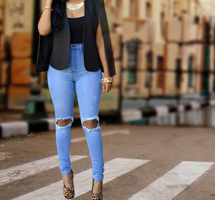 Autumn Winter Street Wear Women Jeans Broken Holes Skinny Ladies Jeans Pants Stretch Blue Pencil Pants