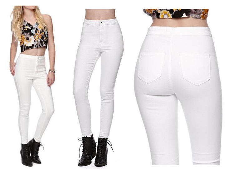 Fashion Women Jeans White Skinny Slim Fit Ladies Jeans For Autumn Winter