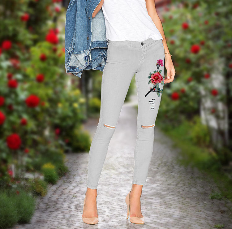 Color Grey Skinny Slim Fit Women Jeans 3d Flower Rose Embroidery Ladies Jeans