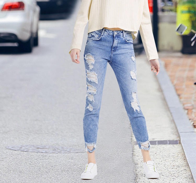 Fashion Ladies Jeans High Waist Ripped Jeans Pants Skinny Slim Fit Pencil Pants