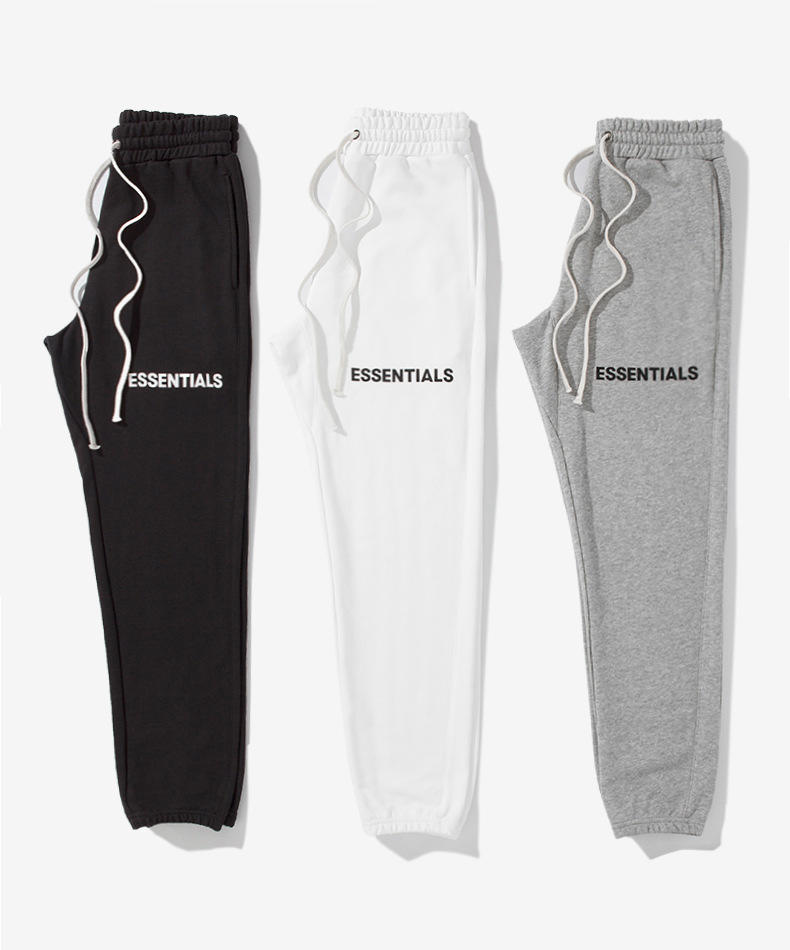 pure color jogging tracksuit drawstring waist men long sport pants letters embroidery pants for jogger