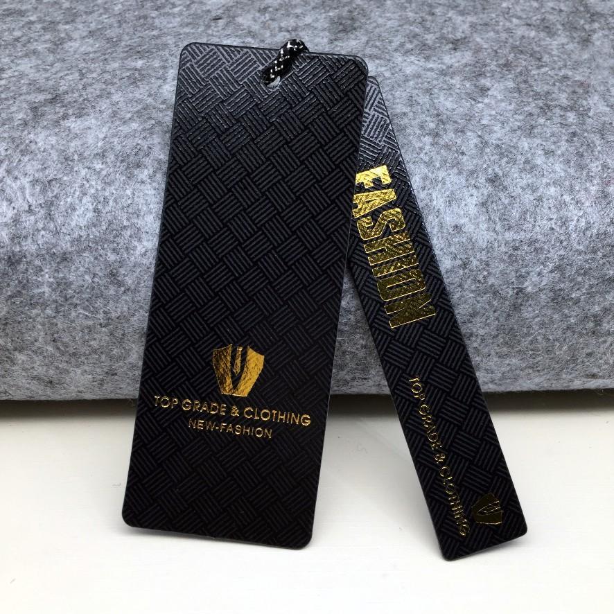 Custom spot UV hot stamping gold foil hang tag for clothing own logo