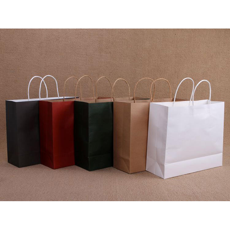 Different size wholesale pure color paper shopping bag in stock or custom