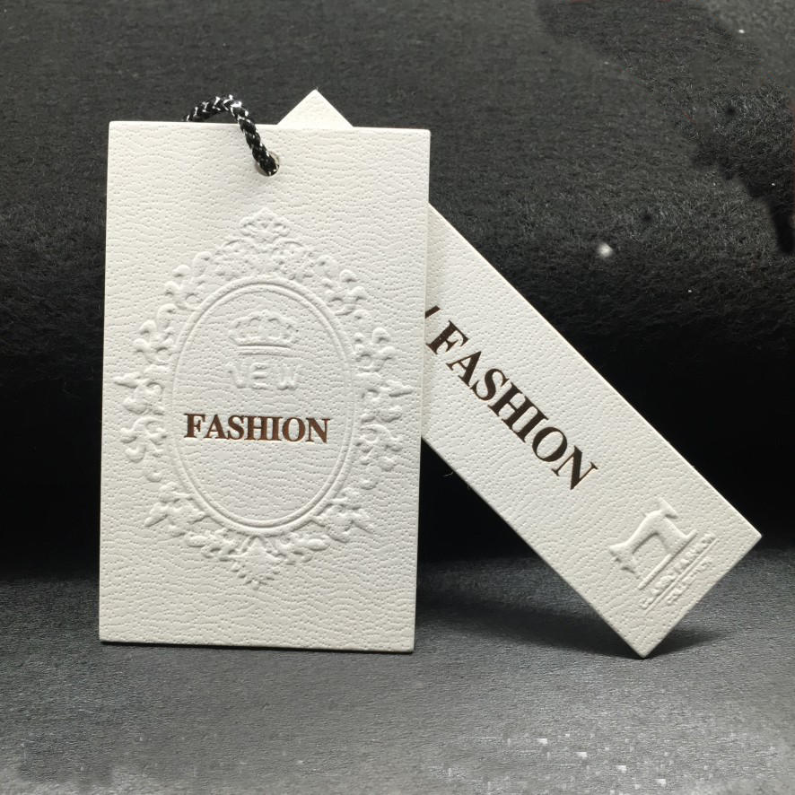 Emboss logo lady garment hang tag High-grade custom design withe cardboard paper