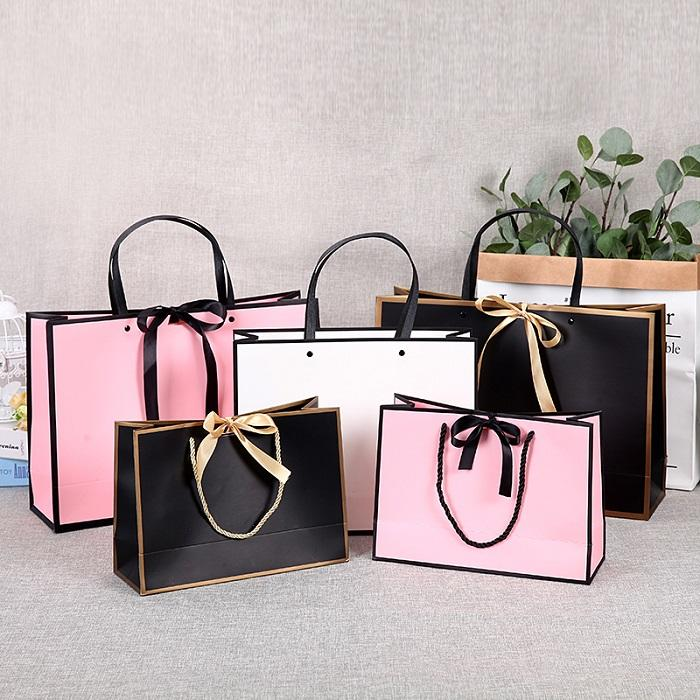Print colored bag luxury custom spot paper gift bag with bowknot
