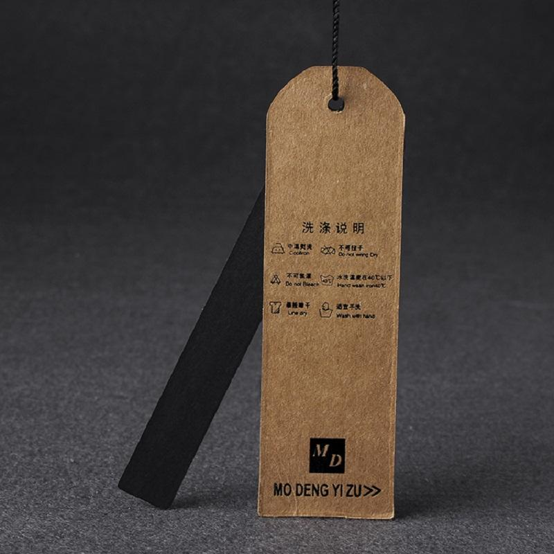 Craft paper black double pieces custom details printing hang tag for bag