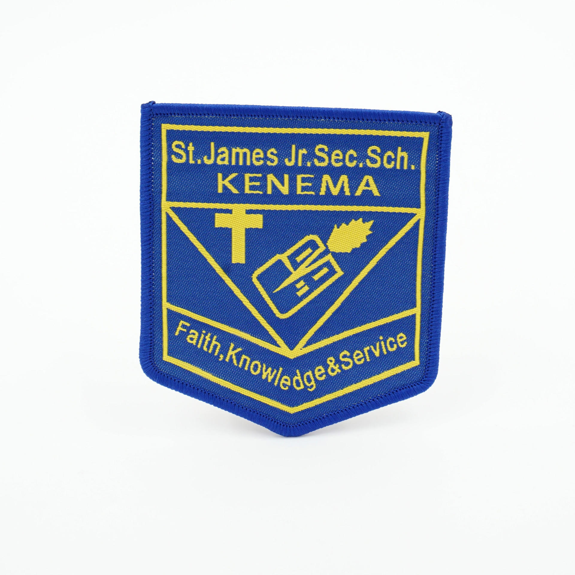 Custom school uniform iron on merrow over lock woven patch