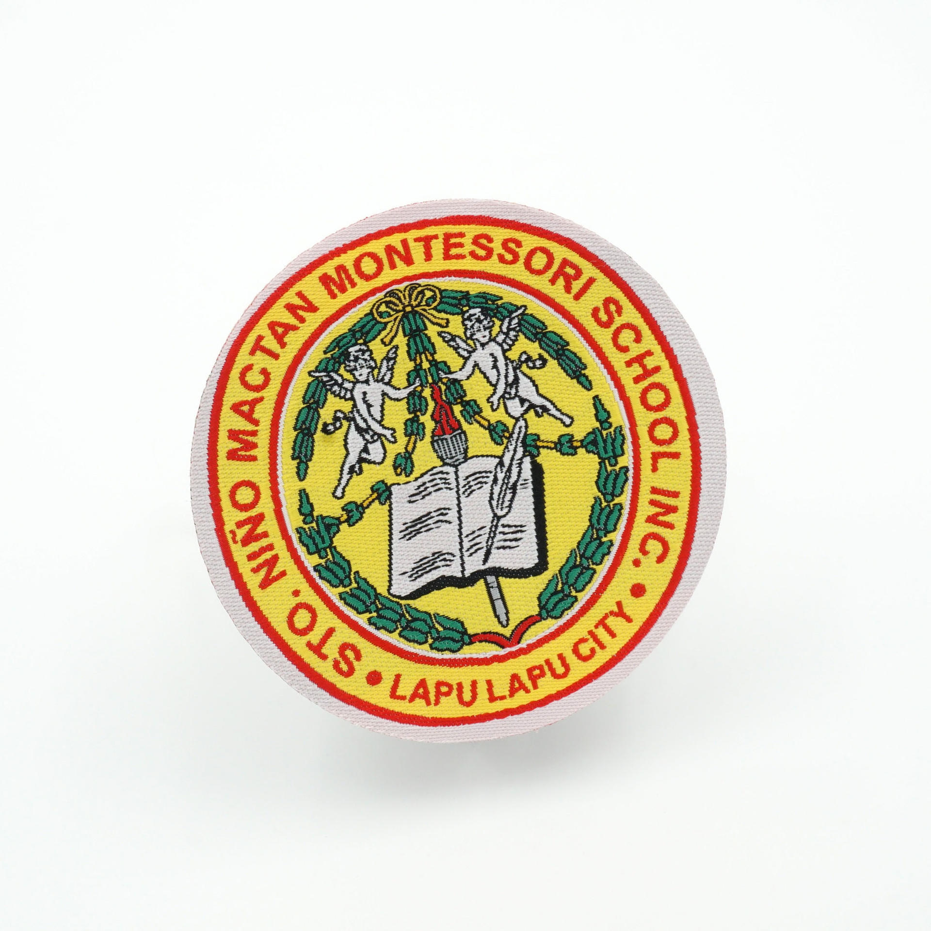 OEM logo school uniform laser cutting iron on woven patches
