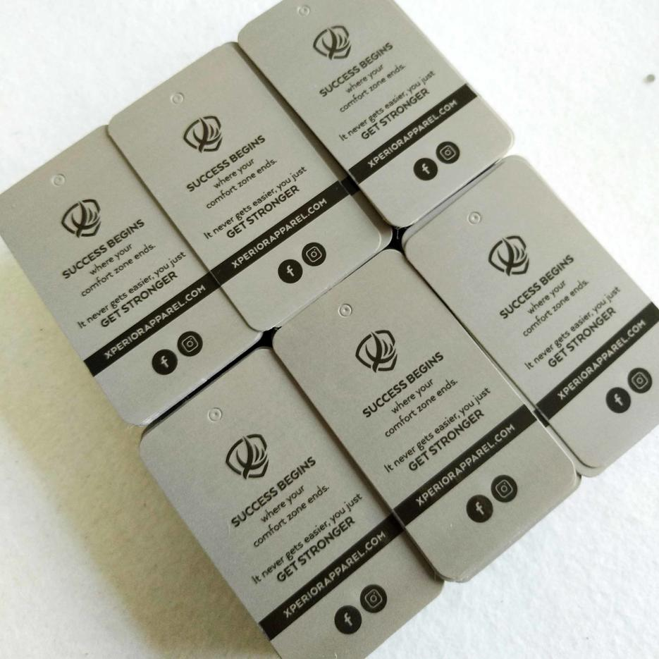 Grey paper spot UV design hang tags translucent PVC Hang Tags With Own Logo